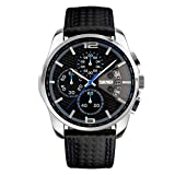 CakCity Men's Watch Leather Band Waterproof Business Analog Wrist Watch Black