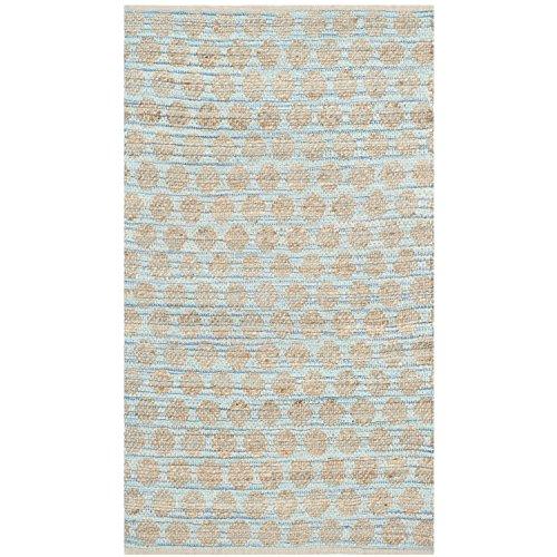 Safavieh Cape Cod Collection CAP820B Handmade Blue and Natural Jute Area Rug, 3 feet by 5 feet (3' x 5')