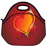 Snoogg Beautiful Shining Heart With Floral And Grunge Elements Travel Outdoor Carry Lunch Bag Picnic Tote Box...