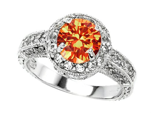 Star K 7Mm Round Simulated Mexican Fire Opal Engagement Ring Size 5