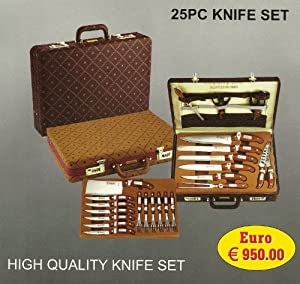 Knife set 25 pcs with leather case rl k25lb for Kitchen set in amazon