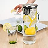 bobuCuisine's Elegant Chill Glass Pitcher - Stunning Scandinavian Design - Premier Quality Borosilicate Glass - Stainless Steel Lid - 1300ml/44oz Water Pitcher