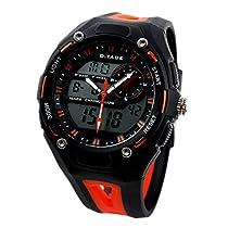 ESS Waterproof Black Orange Alarm Digital Quartz Mens Watch Date Week Display Rubber Strap WS067