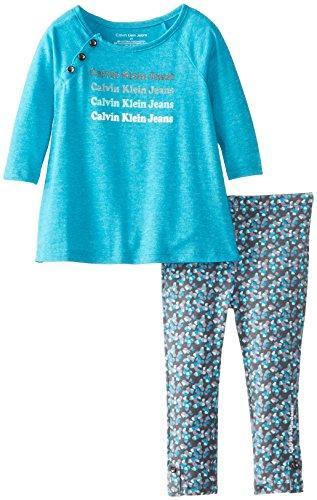 Calvin Klein Little Girls' Logo High Low Tunic Set, Teal Green, 2T front-1025834