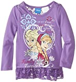 Disney Little Girls' Anna and Elsa Long Sleeve Top