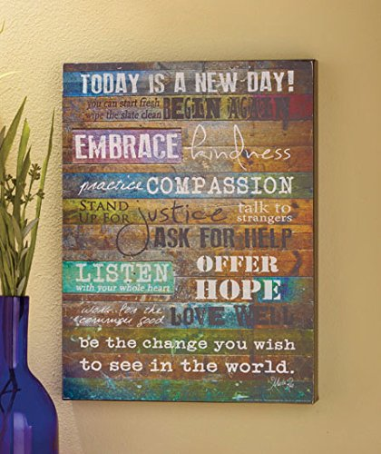 "Today is a New Day Wood Wall Art Print by Marla Rae 16"" x 12"""