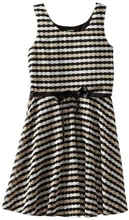 ZUNIE Big Girls' Sweater Knit Skater Dress, Black/Cream, Small