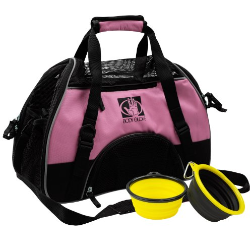 Body Glove Pet Carrier With 2 Bowls And Fleece Mat, Black/Pink