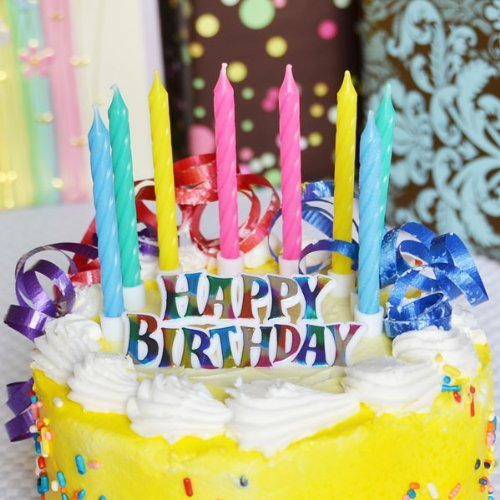 Rainbow Happy Birthday Sign with 12 Assorted Candles