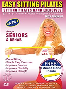 Sitting Pilates Band Exercises DVD + FREE PILATES BAND. Seniors Easy Pilates Exercises & Pilates Bands Exercise DVD for Strength & Fitness Easy SITTING Pilates Resistance Bands Exercises for Seniors, Elderly, Rehab,Good also for Over weight and Obes