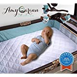 """Amy Carinn Collection Pack N Play Mattress Cover. 27""""x39""""+5"""", White. Waterproof, Fitted, Absorbent Portable Crib..."""