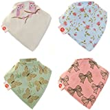 Zippy Fun Baby and Toddler Bandana Bib - Absorbent 100% Cotton Front Drool Bibs with Adjustable Snaps (4 Pack Gift Set) Girls Vintage Patterns