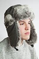 30% Wool Mens Heavyweight Large Trapper Hat for Camping,skiing,snowboarding
