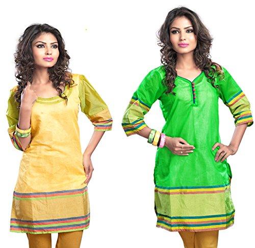 Admyrin Women Cotton Yellow and Green Combo Kurtis