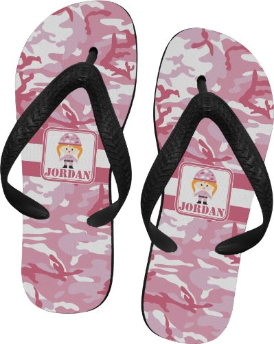 Pink Camo Flip Flops - Extra Small front-670074