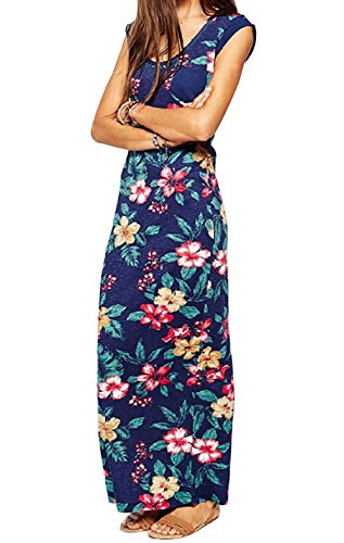 CANIS Women's Deep V Neck Sleeveless Floral Maxi Long Dress Beach Sundress (US8-10