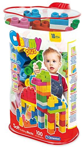 Clementoni - Clemmy Plus bolsa 100 bloques, juguete para bebé (149568)