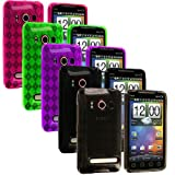 5-in-1 Colorful TPU Rubber Skin Case Cover Accessories for Sprint HTC EVO 4G Cell Phone by Electromaster[random:20]