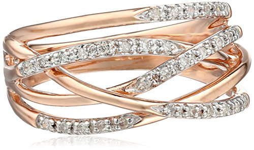10k Rose Gold Woven Diamond Ring (0.14 cttw, I-J Color, I2-I3 Clarity), Size 8 Amazon Curated Collection B004FTOU1M