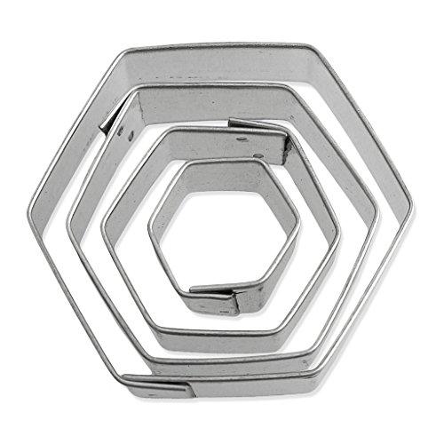Set di 4 stampini in ferro bianco modellaggio e cucina 20-50 mm Hexagone