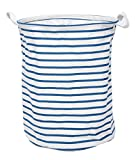 GreenForest Fabric Collapsible Eco-friendly Storage Bucket With Totes ,Blue Strips(14Dx18H inches)