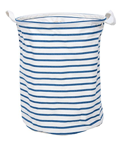 Fantastic Deal! GreenForest Fabric Collapsible Eco-friendly Storage Bucket With Totes ,Blue Strips(1...