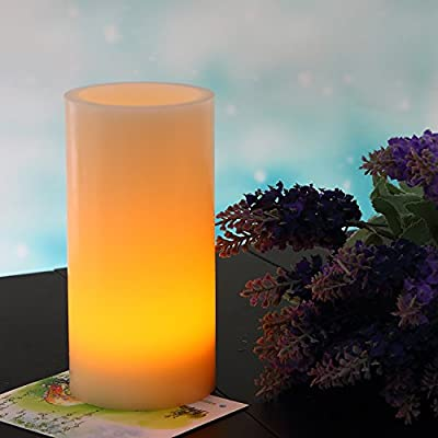 "Thickened LED Flameless Candle Light 8""x4"" Ivory - Unscented Real Wax, Battery Operated Candle with On-Chip Timer, Flickering Amber Yellow Flame Pillar Electric Candle for Lanterns By JIAJIA Spring"