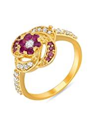 Mahi Valentine Gift Ruby & CZ 24K Gold Plated Fashion Finger Ring For Women FR1100300G