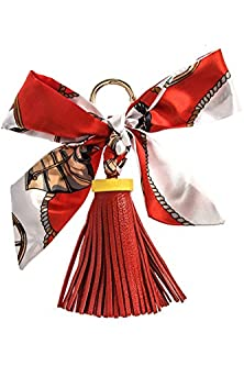 buy Karmas Canvas Printed Bow Faux Leather Tassle Key Ring (Red)