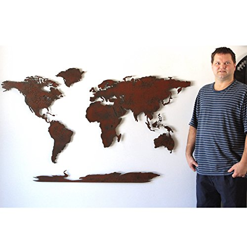 30 x 50 inch World Map metal wall art - Handmade - Choose your patina color
