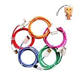 Magic-T 5pcs/lot Colorful Ruggedized Fabric Braided Line 1M 3FT Sync Cable Charging Cord for iPhone 3GS 4 4S iPod 4 iPad 2 3 (Hot Pink/Red/Orange/Mint/Purple)
