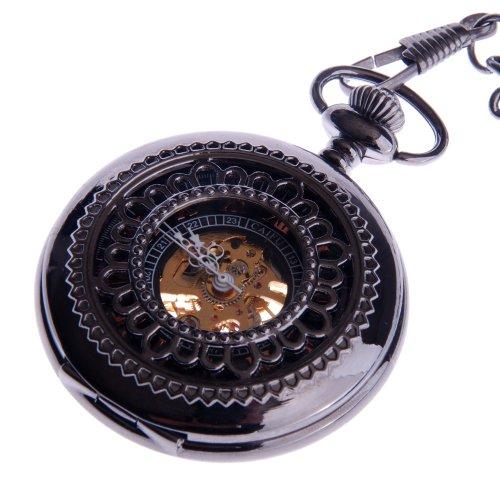 Skeleton Pocket Watch Chain Mechanical Hand Wind With Bronze Red Roman Numerals Half Hunter Vintage Antique Look - PW33