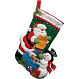 Bucilla Felt Stocking Applique Kit, 18-Inch, Santa and His List