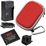 EZOPower Panasonic DMW-BCL7 Battery + AC Charger + Red Zipper Eva Case + UK Plug for Panasonic Lumix DMC-XS3, XS1, SZ8, SZ9, SZ3, FS50, F5 Digital Camera
