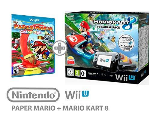 Nintendo Wii U Console Premium Pack 32GB + Mario Kart 8+ Paper Mario: Splash-Pack di 2Gioco