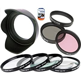 52mm Multi-Coated 7 Piece Filter Set Includes 3 PC Filter Kit (UV-CPL-FLD-) And 4 PC Close Up Filter Set (+1+2+4+10) For Panasonic Lumix G Vario 14-45mm Lens + Hard Tulip Lens Hood+ Cap Keeper + MicroFiber Cleaning Cloth + LCD Screen Protectors