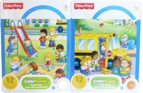 "Fisher-price ""Little People"" 2-pack of 12-piece Puzzles - Bus/playground - 1"