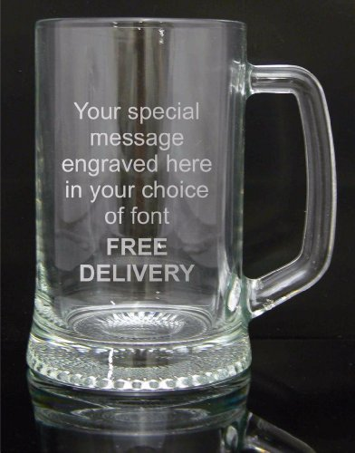 Personalised Engraved Pint Glass Tankard, Engraved, Luxury Blue Gift Box Included, Engraved Free