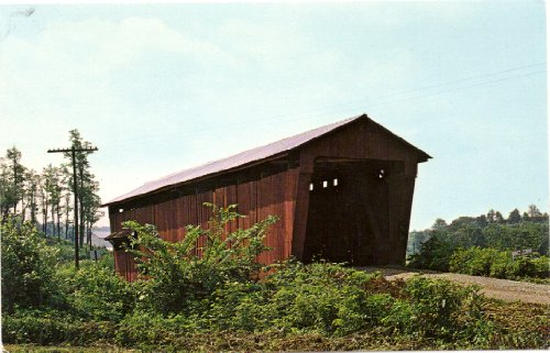 1960s Vintage Postcard Covered Bridge near Glouster