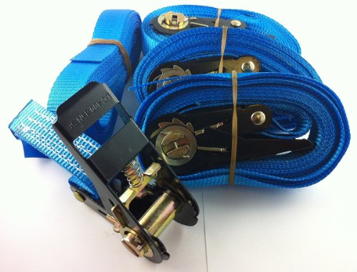 Ratchet Tie Down Straps 5m Heavy Duty 400kg / 800kg (Pack of 4) Brand New in blue color