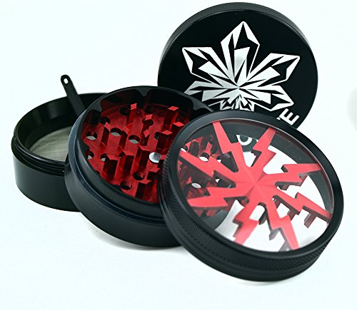 Find Discount Kryptonite Grinders - Large Herb Tobacco Spice Weed Grinder - Four Piece Clear Top wit...