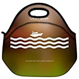 Snoogg Stylized Cruise Liner And Waves Travel Outdoor Carry Lunch Bag Picnic Tote Box Container Zip Out Removable Carry Lunchbox Handle Tote Lunch Bag Food Bag For School Work Office