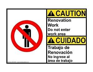 Amazon com ansi caution renovation work do not enter work area sign