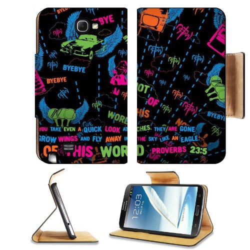 Not Of This World Proverb 23:5 Samsung Galaxy Note 2 N7100 Flip Case Stand Magnetic Cover Open Ports Customized Made To Order Support Ready Premium Deluxe Pu Leather 6 1/16 Inch (154Mm) X 3 5/16 Inch (84Mm) X 9/16 Inch (14Mm) Msd Note Cover Professional N