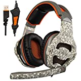 [ SADES 2016 Upgraded Version PC Gaming Headset] SADES SA-918 PC Computer USB headsets, Over Ear Stereo Heaphones With Mic EQ Function Volume Control LED Light For Pc,Laptop,MAC (Camouflage)