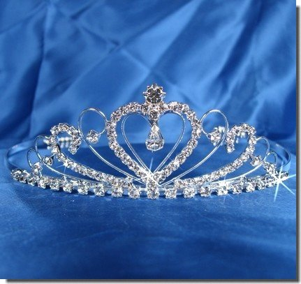 Bridal Wedding Tiara Crown With Crystal Heart 42206