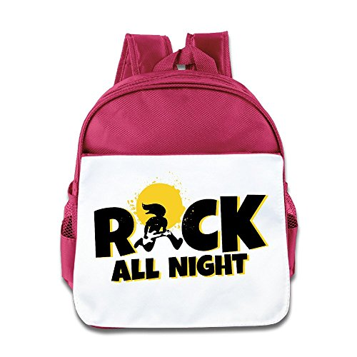 Custom Cute Rock All Night Teenager Schoolbag For 1-6 Years Old Pink