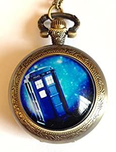 NEW Doctor Who - The Tardis Antique Bronze Engraved Quartz Pocket Watch/Necklace Watch