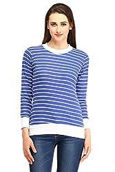 Cottinfab Women Cotton Blue Tops (Large)