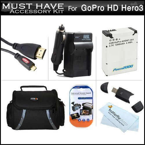 Must Have Accessory Kit For Gopro Hd Hero3, Gopro Hero3+ Includes Extended Replacement (1200 Mah) For Ahdbt-301, Ahdbt-201 Battery + Ac/Dc Travel Charger + Micro Hdmi Cable + Usb 2.0 Card Reader + Deluxe Case + More